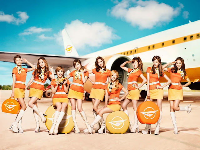 SNSD Girls Stewardess Costume and Outfits Photoshoot