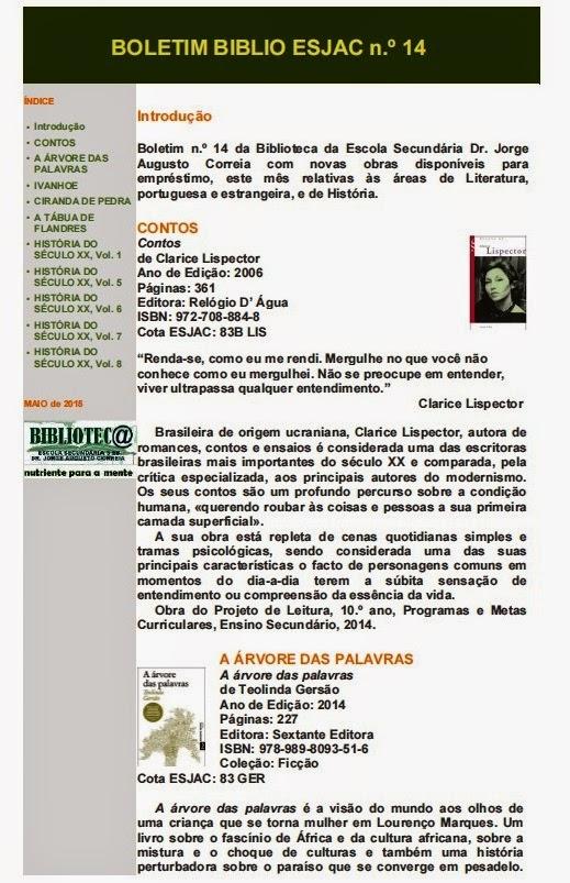 Boletim BIBLIO ESJAC n.º 14