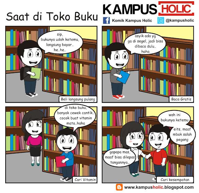 #136 komik mahasiswa Saat di Toko Buku