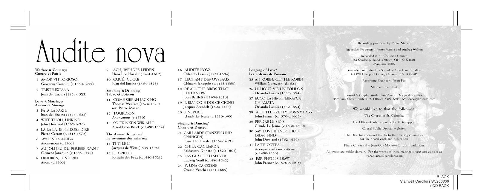 Stairwell Carollers Audite Nova Madrigal CD back Cover
