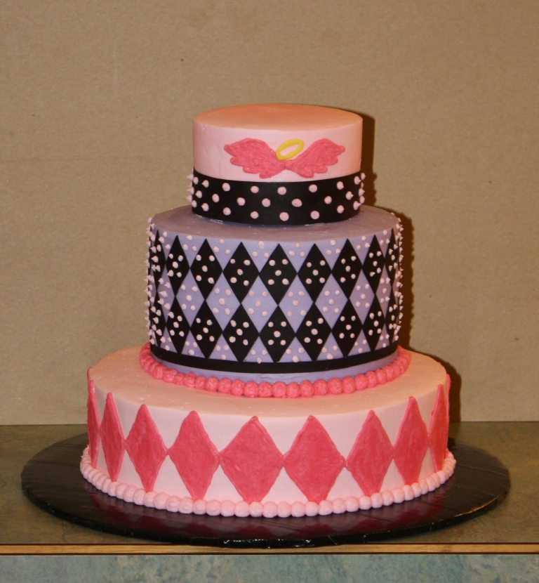 Party Cakes: Argyle Lil Angel 3-Tier Birthday Cake