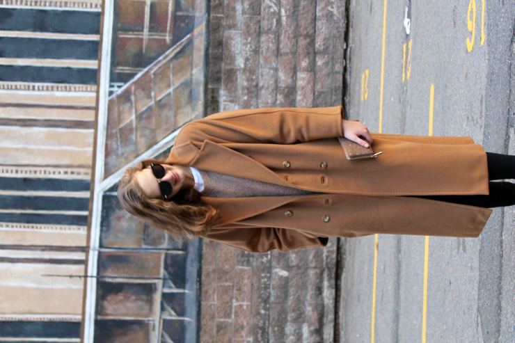 Vintage Max Mara long camel coat, black skinny jeans, leather Chelsea booties and wooden bronze watch for a cute Boston ootd