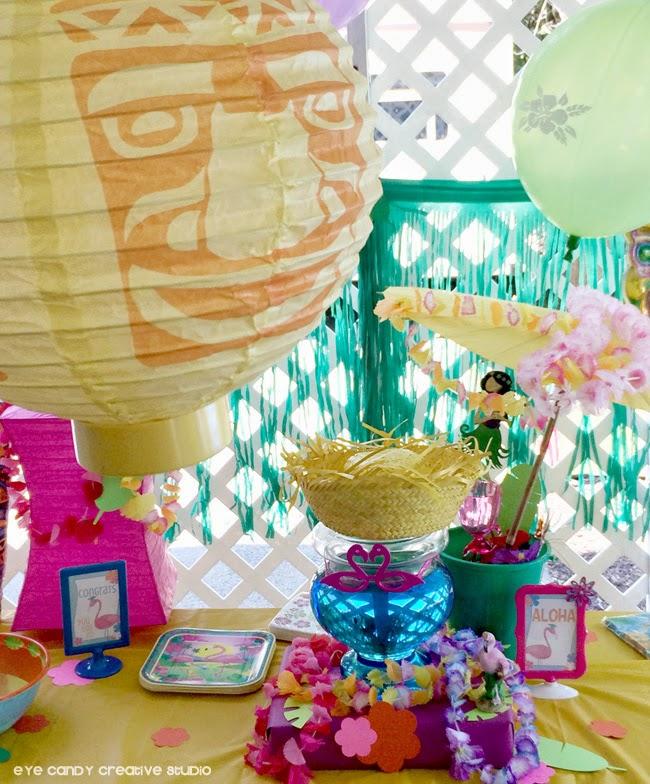 paper lanterns for luau party, flamingos, aloha sign, leis, grass skirt