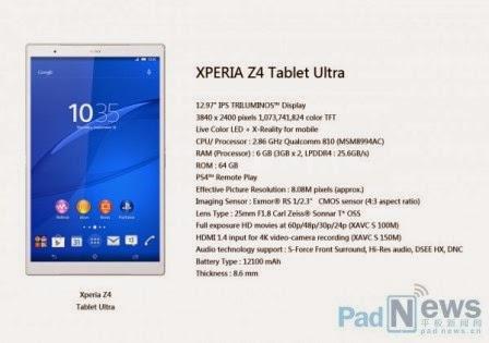 Sony diduga siapkan Xperia Z4 Tablet Ultra dengan layar 13 inch