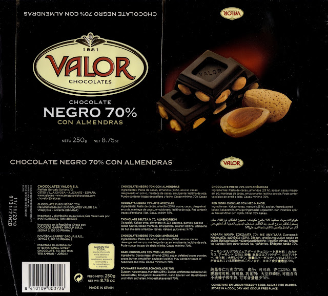 tablette de chocolat noir gourmand valor chocolate negro con almendras 70