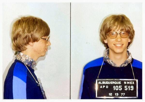 64 Historical Pictures you most likely haven't seen before. # 8 is a bit disturbing! -  Bill Gates for driving without a license, 1977