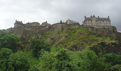 Haunted Edinburgh Castle in Scotland sits high on a hill top overlooking the city of Edinburgh