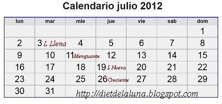 La dieta de la luna 2018 horario calendario lunar julio 2012 for Proxima luna creciente