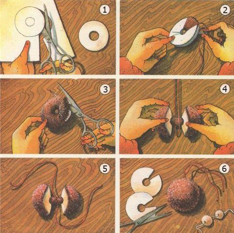 Как сделать помпон своими руками из ниток
