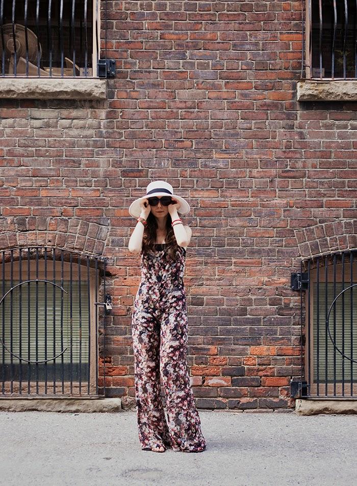 Floral-chiffon-romper-wide-brim-hat