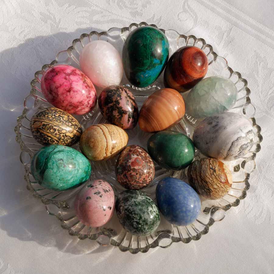 Stone rock eggs in platter
