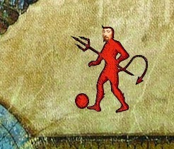 Red devil with Francis Bacon`s face.