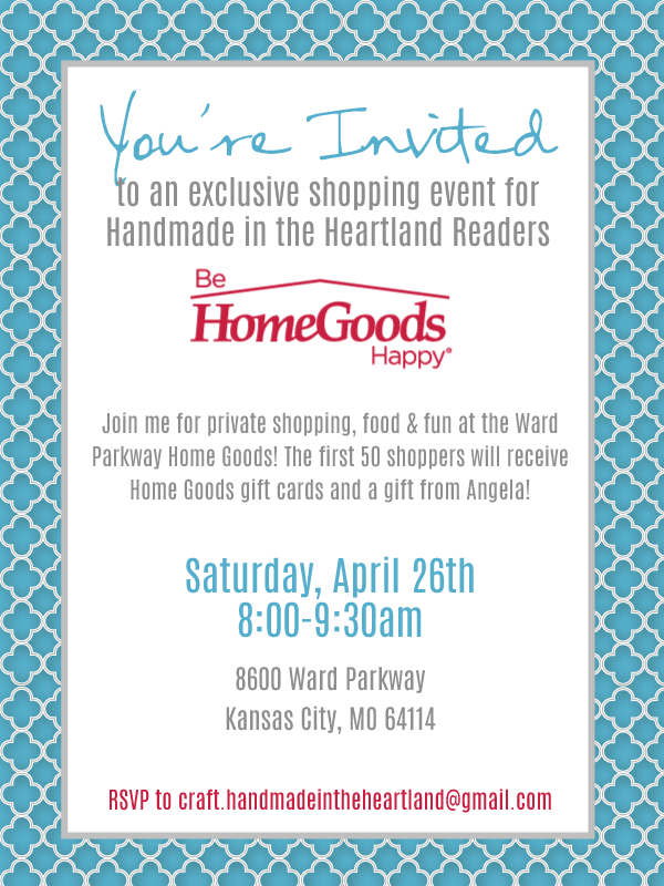 designer home goods. HomeGoods is opening the store just for us to shop  enjoy breakfast munchies and have chances win gift cards during event Private Shopping Event at Home Goods Handmade in Heartland