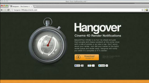Free Hangover Render Notification Plugin for Cinema4D