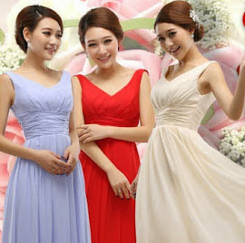 Simple Sleeveless V-neck Bridesmaids Long Dress
