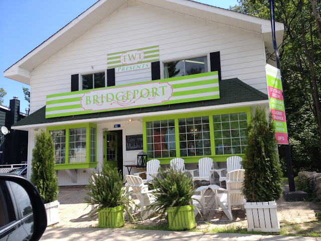 TWT Presents Bridgeport store front, Port Carling, Muskoka, Ontario, Canada. TWT Presents Bridgeport store front, Port Carling, Muskoka, Ontario, Canada Abbey's Bake House in Muskoka, Port Carling location Shopping in Muskoka Muskoka Chairs Green and White