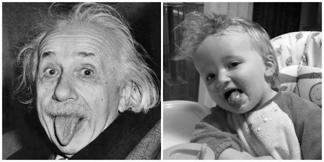 Black and white picture of Einstein poking his tongue out and Bear poking his tongue out