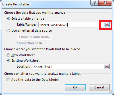 Create Pivot Table, range selection Excel