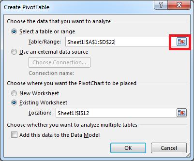 Create Pivot Table, range selection Excel