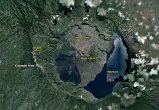 Lake Batur in Caldera of Mount Batur, Kintamani, Bangli Regency, Bali
