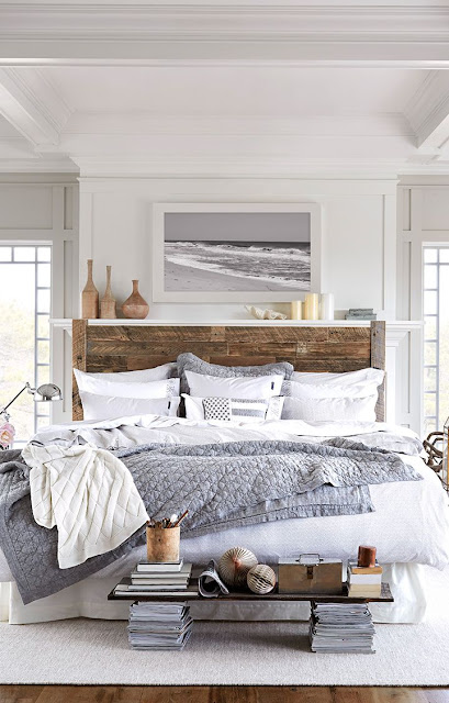 Country/Shabby Chic Room, White and grey bedding