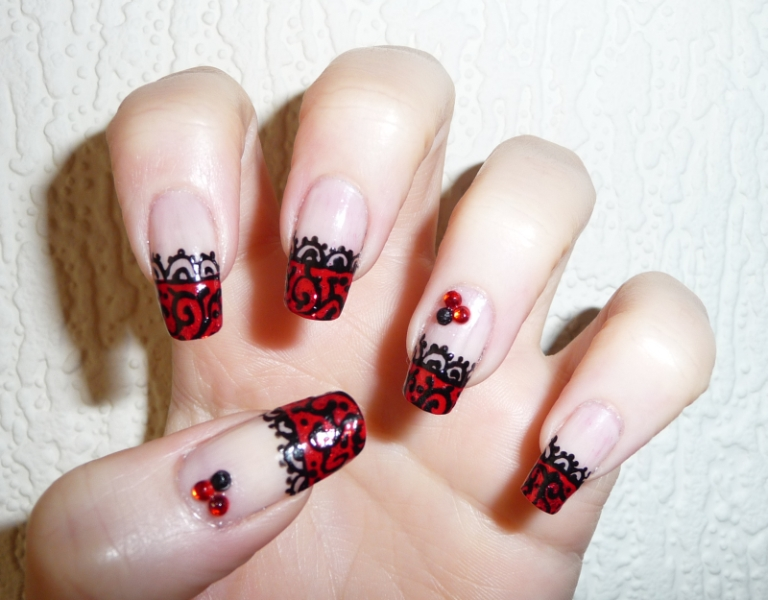 My spot red and black lace nail art red and black lace nail art prinsesfo Image collections