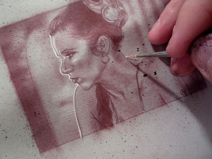 Slave Leia sketch card by Jeff Lafferty