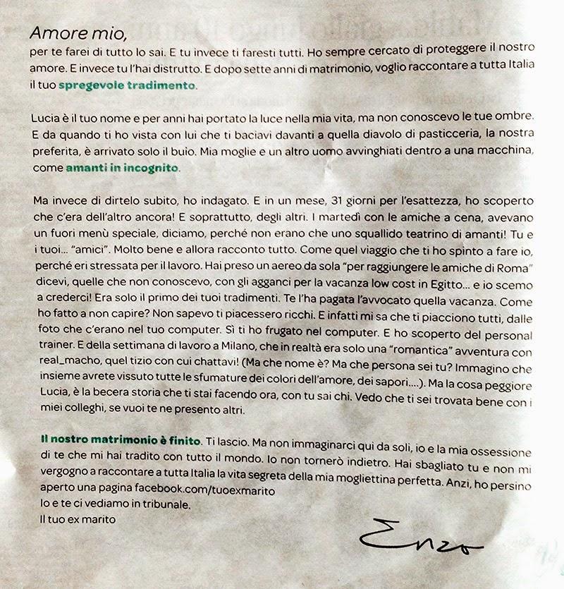lettera di enzo, un marito tradito