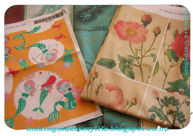 Fabric samples, designed by Kura Carenter, printed via Spoonflower