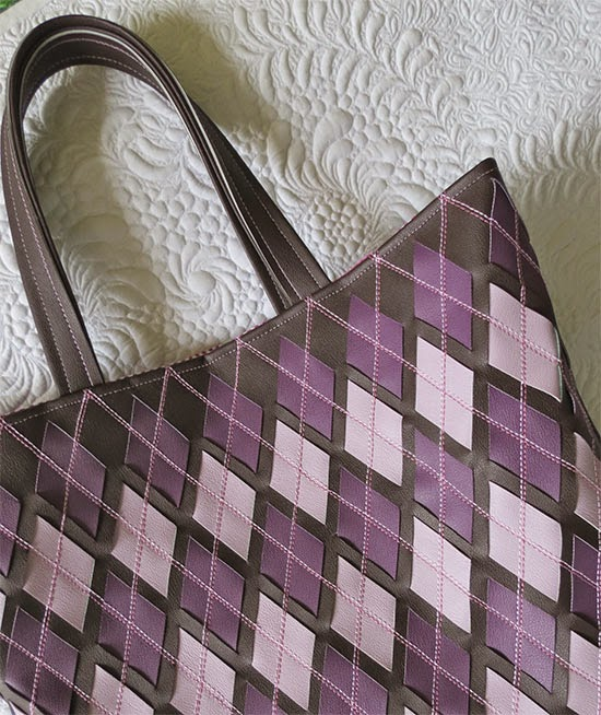 Faux Leather Woven Bag in Argyle pattern