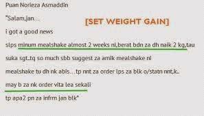 testimoni shaklee untuk tambah berat badan