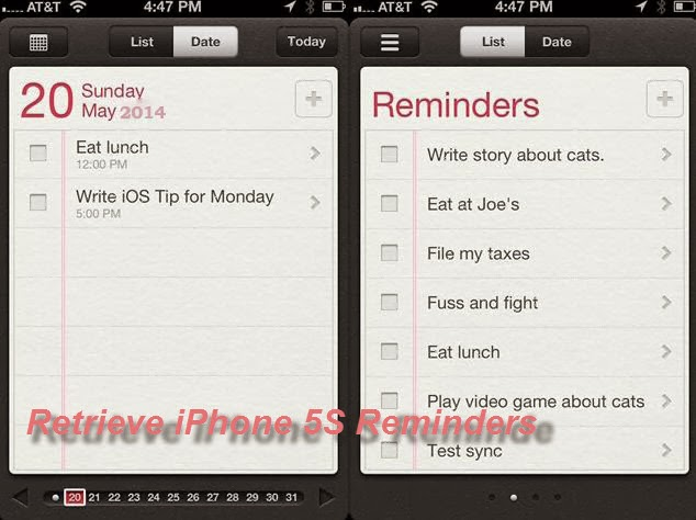 retrieve reminders from iphone 5s