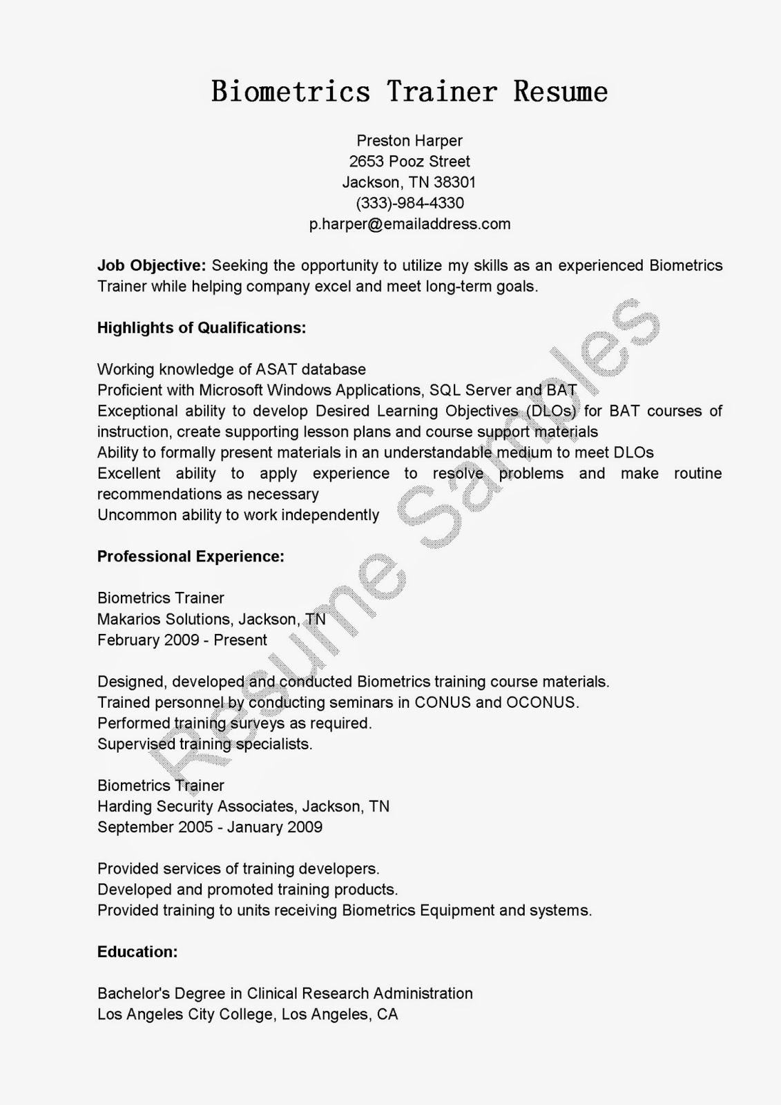 trainer resume software trainer resume samples retail trainer resume samples biometrics trainer resume sample - Training Resume