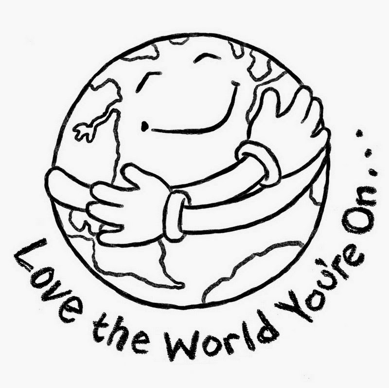 Earth Day Clip Art Black and White to Color