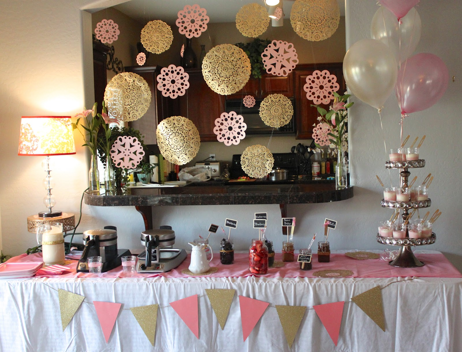 ... Is Expecting A Baby Girl Any Day Now. Lindsay, Lori And I Threw Her An  Ultra Feminine Pink And Gold Themed Waffle Bar Shower. It Was So Much Fun!