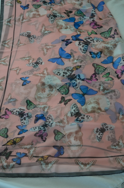 H&M butterfly and scull scarf