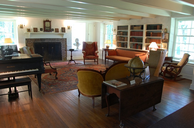 Living Room In The N. C. Wyeth Home With A Bust Of Beethoven In The Window  And A Large Bookcase.