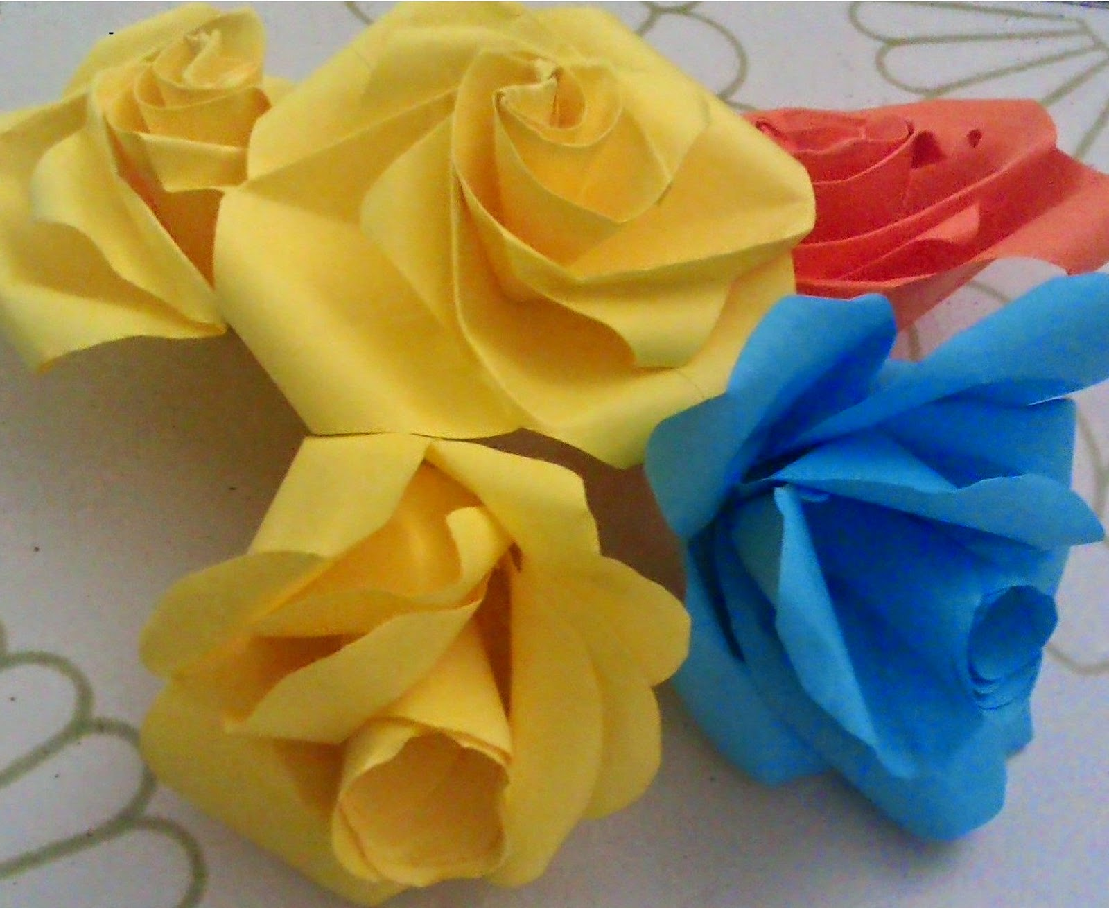 rose flowers with color paper