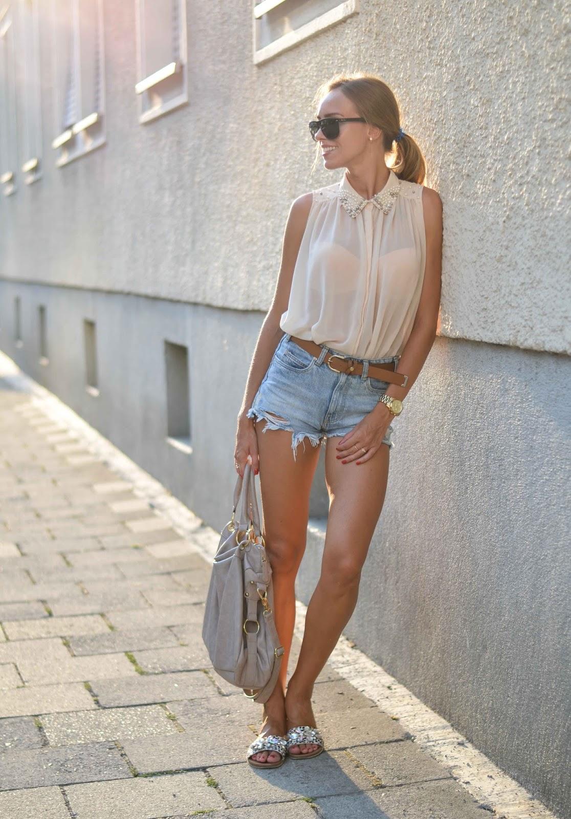 kristjaana mere denim shorts sleeveless sheer top summer outfit