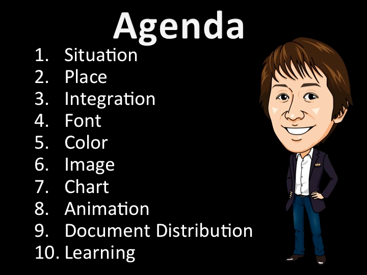 1.Situation 2.Place 3.Integration 4.Font 5.Color 6.Image 7.Chart 8.Animation 9.Document Distribution 10.Learning