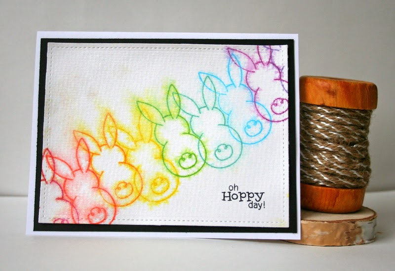 Hoppy Day Card by Jess Moyer using Newton's Nook Designs and Distress Ink Bleed Technique