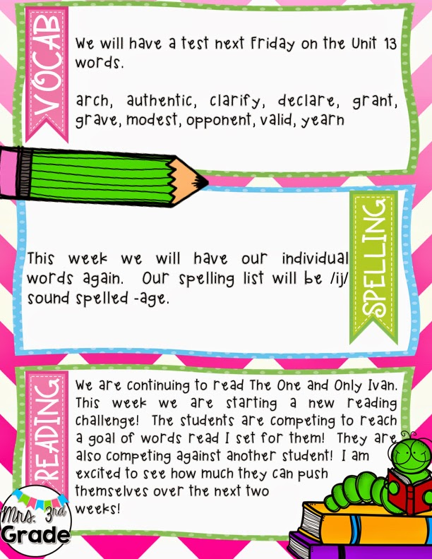 Classroom newsletters to send home to parents to keep them informed about what is going on during your school week.