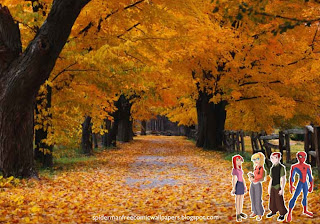 Spiderman desktop Wallpaper Super Hero Mary Jane and Friends at Autumn Trees