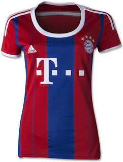 gambar jersey wanita bayern munchen, jual online jersey bola ladies munchen, grade ori, made in Thailand