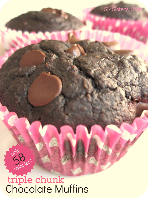 Low Calorie Triple Chocolate Chunk Muffins / Six Sisters' Stuff | Six ...