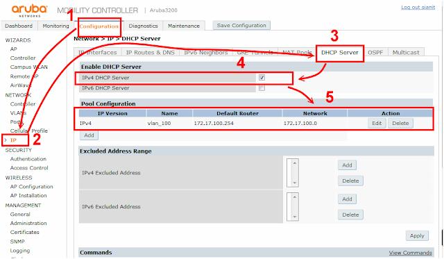 Aruba Controller DHCP configuration