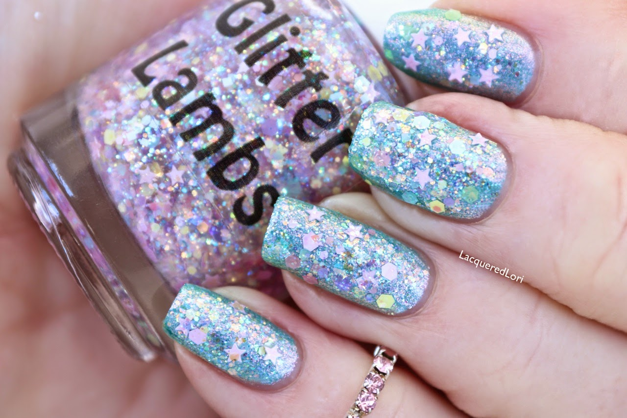 "Glitter Lambs ""Lilac Mascara""  Glitter Topper Nail Polish ""Fashion Makeover Collection""  Swatched by @LacqueredLori"