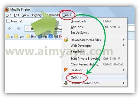 Gambar: Menampilkan dialog Options Mozilla Firefox