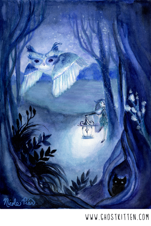 Fairytale Anime Illustration Owl forest magical Nicole Piar