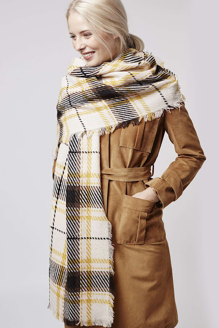 topshop check scarf, large check scarf, yellow check scarf,
